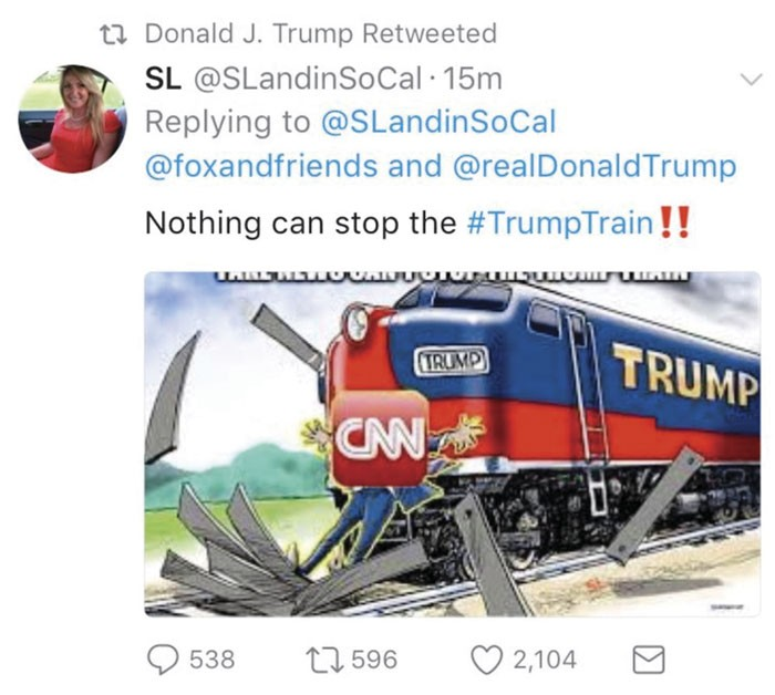 Trump retuitea imagen de tren atropellando a reportero de CNN