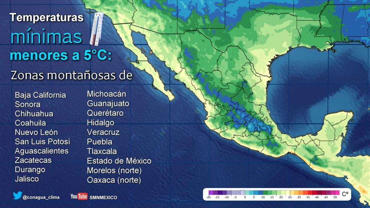 Temperatura menor a 5° en 20 estados para este jueves